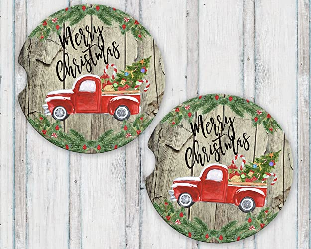 Merry Christmas Sandstone Car Coasters With Vintage Red Truck And Tree Over Barn Wood Background