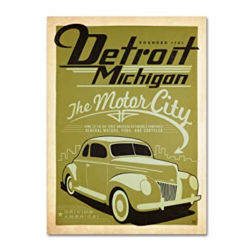 Amazon.com: Detroit Artwork by Anderson Design Group, 14 by 19-Inch ...