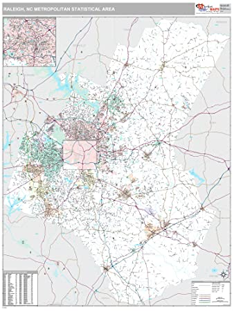 Amazon.com: MarketMAPS Raleigh, NC Metro Area Wall Map - 2018 - ZIP ...
