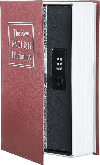 AmazonBasics - Caja de seguridad en forma de libro - Cerradura con combinación - Rojo: Amazon.es: Bricolaje y herramientas