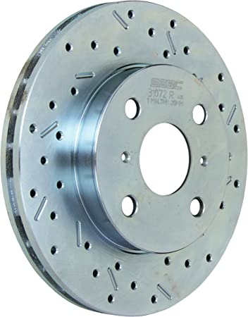 SSBC 33257AA3R Drilled Slotted Plated Front Passenger Side Rotor for 1989-95 Toyota Pickup 2WD except 4 Cylinder Standard Cab