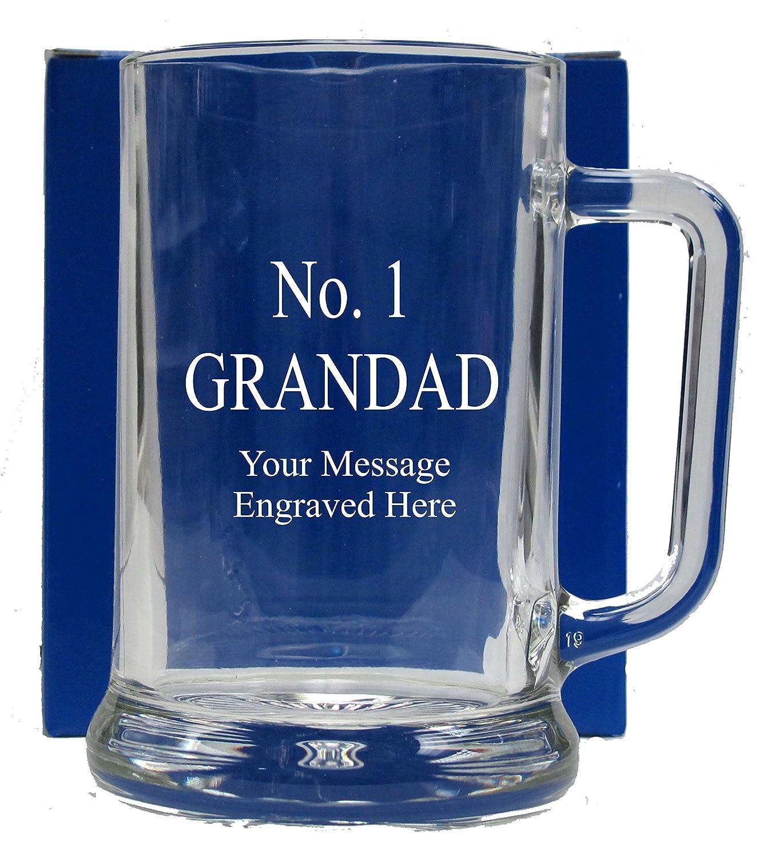 No 1 GRANDAD GLASS TANKARD GT111 1stclassgifts.co.uk