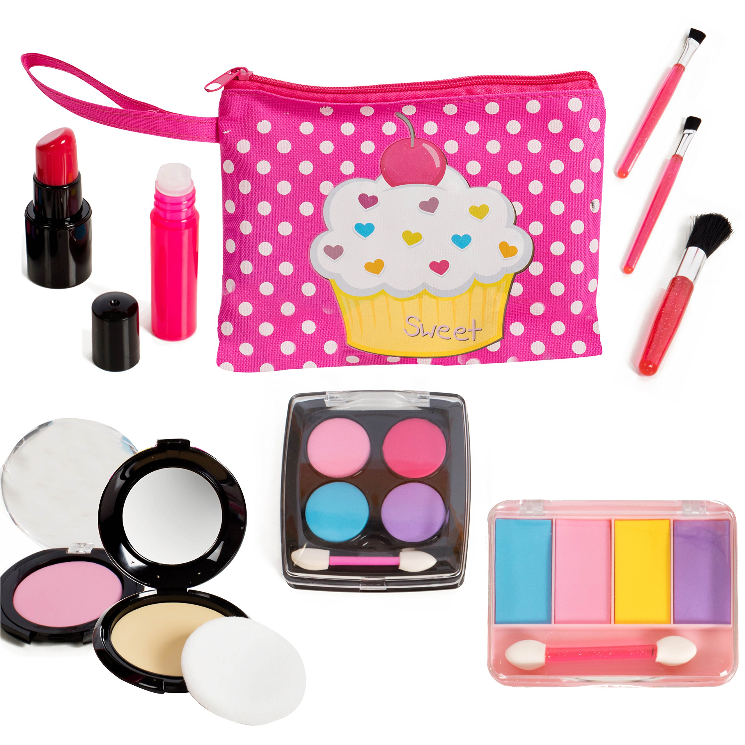 Beverly Hills Kids Pretend Play Makeup Cosmetic Kit with Bright Polka Dotted Cosmetic Bag by Beverly Hills Doll Collection TM