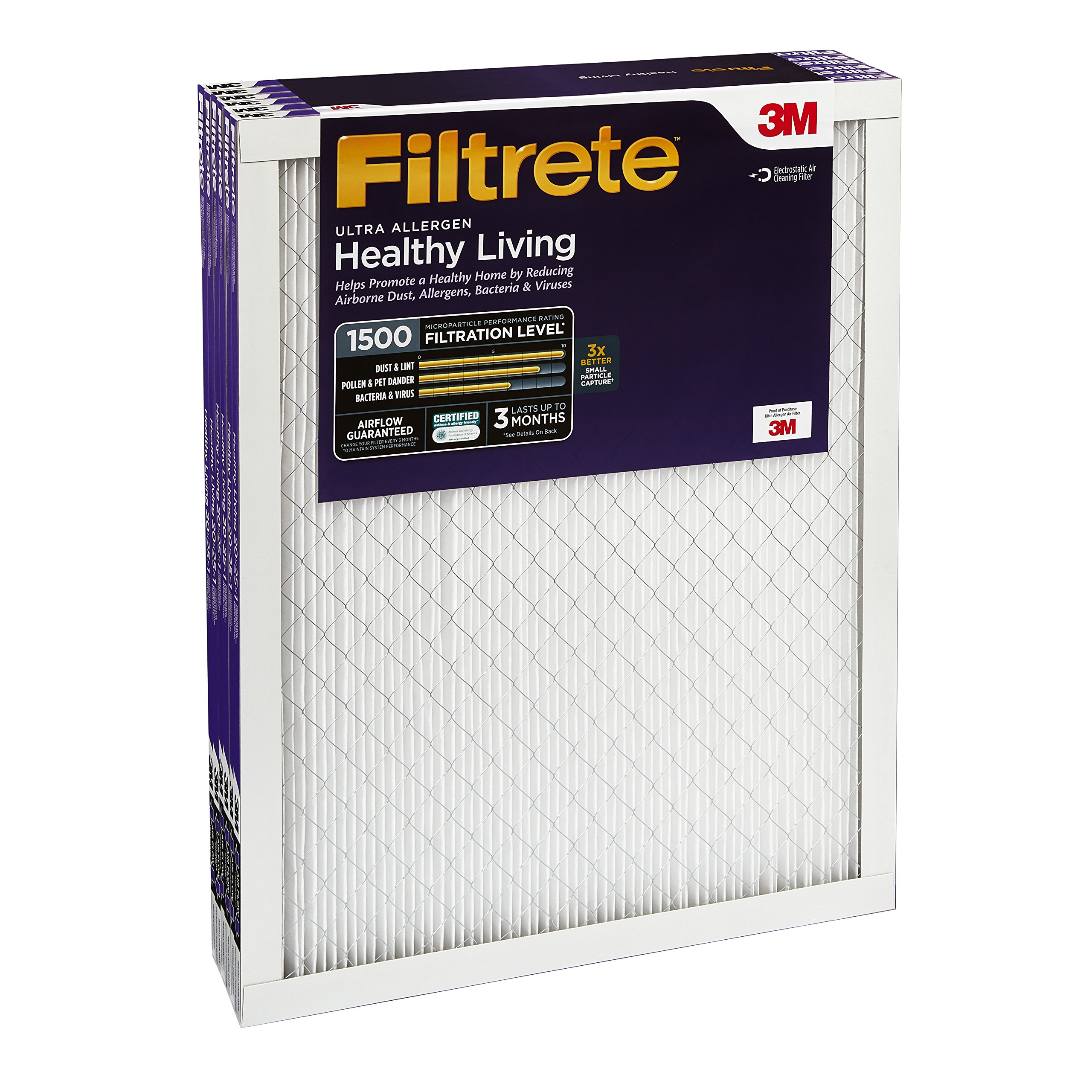 Filtrete MPR 1500 12 x 24 x 1 Healthy Living Ultra Allergen Reduction HVAC Air Filter, 6-Pack by 3M (Image #3)