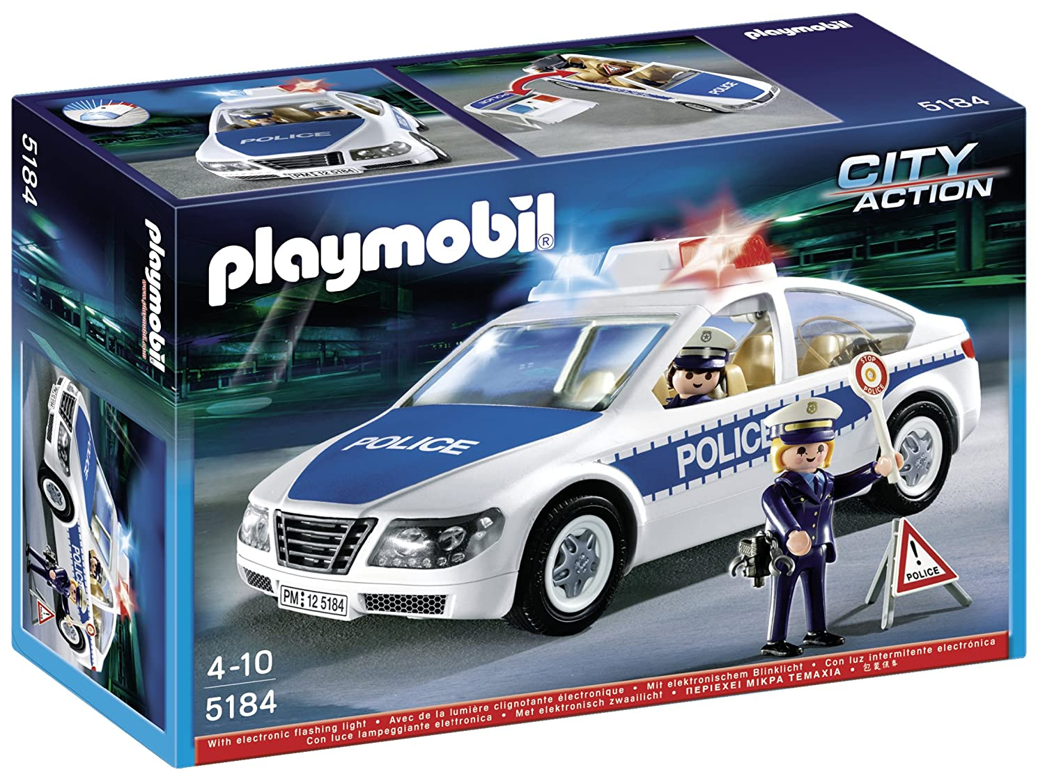 amazoncom playmobil police car with flashing light toys games - Playmobile Police
