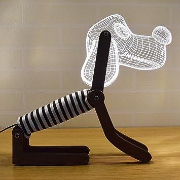 LED Dimmbar CITTATREND Tischleuchte   3D Visual Acryl Hunde Deco Holz  Nachttischlampe   Warmweiß Nachtlicht