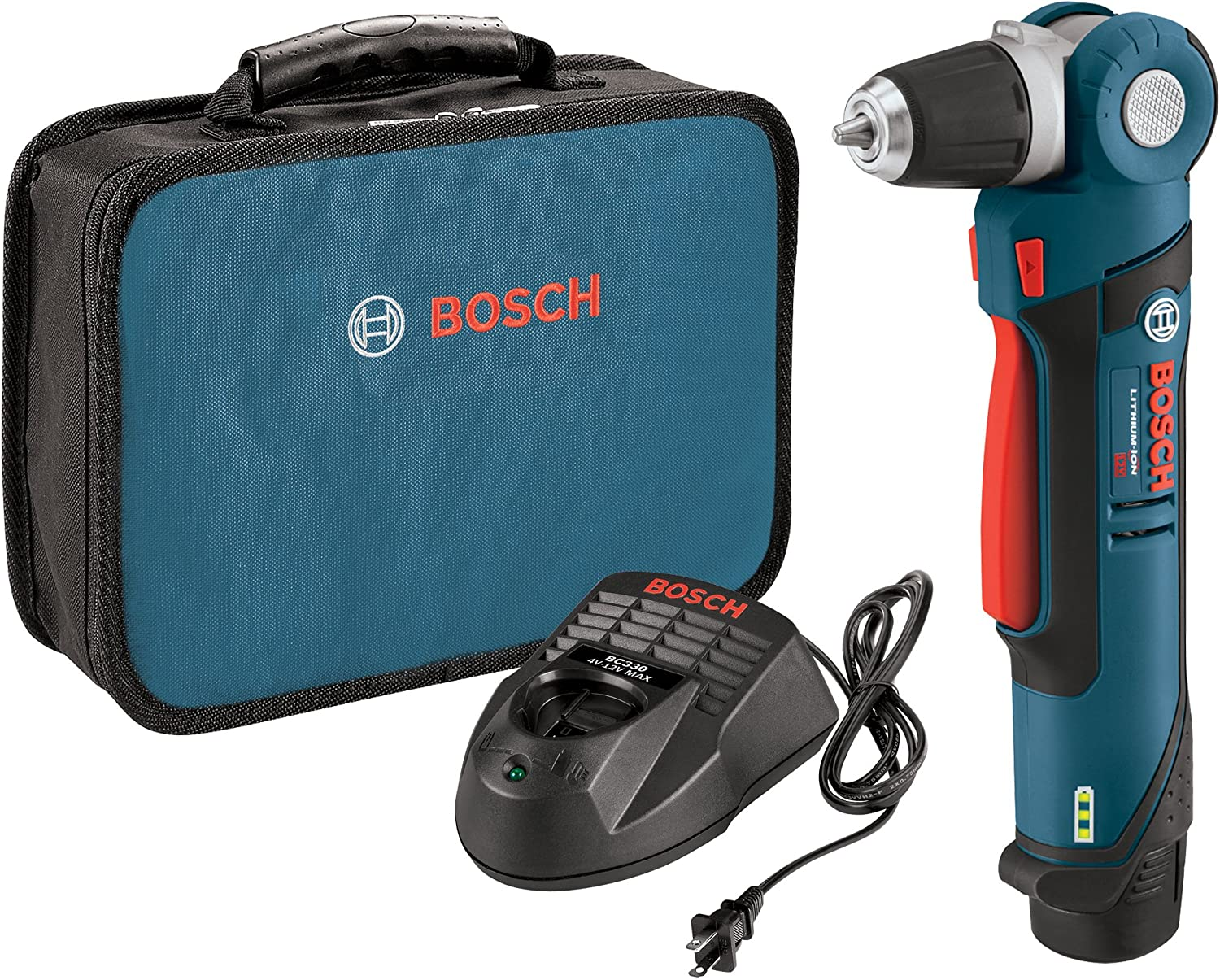 Bosch PS11-102 12-Volt Lithium-Ion Max 3 8-Inch Right Angle Drill Driver Kit with 1 High Capacity Battery and Charger