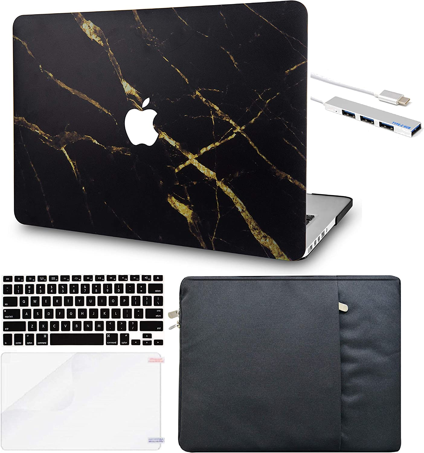 "LuvCase 5in1 Laptop Case for MacBook Pro 13""(2020) with Touch Bar A2251/A2289 Hard Shell Cover, Sleeve, USB Hub 3.0, Keyboard Cover&Screen Protector (Black Gold Marble)"