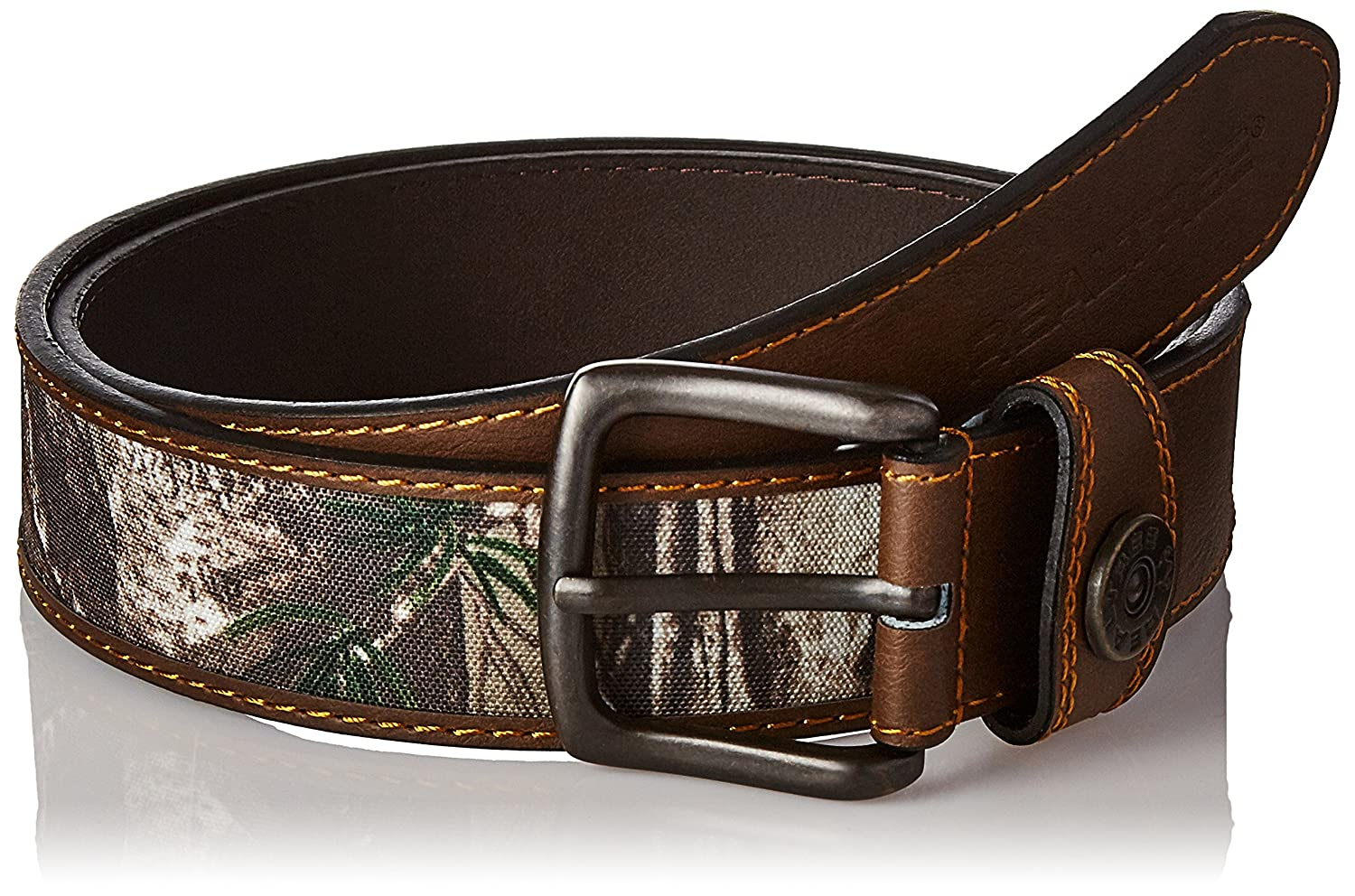 Real Tree Mens Comfort Stretch Stitched Belt with Xtra Camouflage and Shot shell Ornament