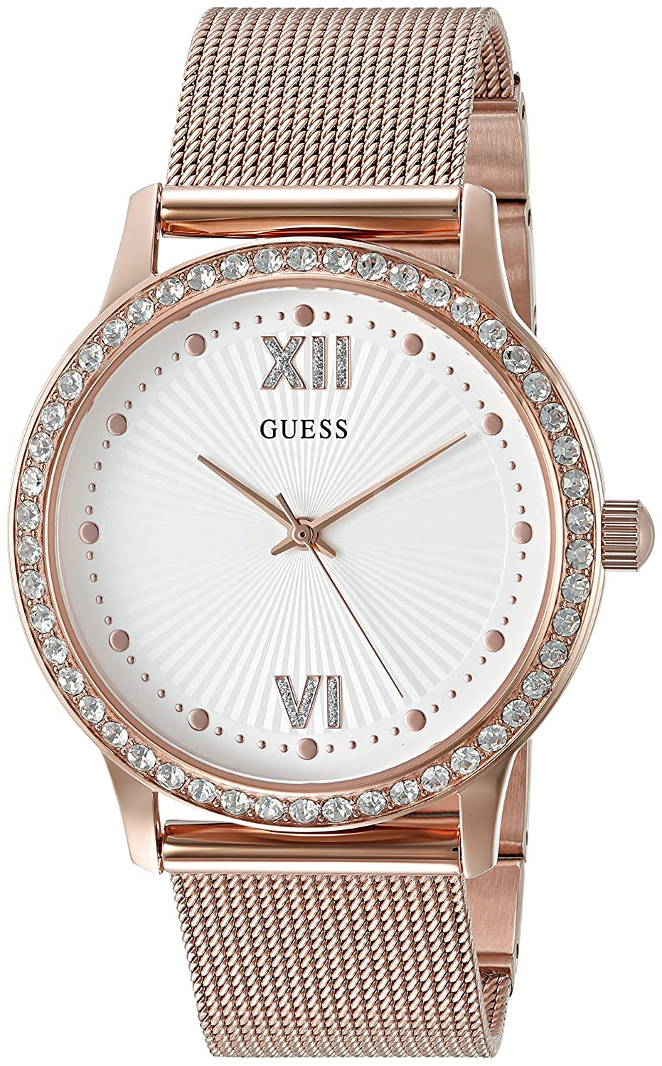 Amazon.com: GUESS Womens Stainless Steel Crystal Mesh Bracelet Watch, Color: Rose Gold-Tone (Model: U0766L3): Watches
