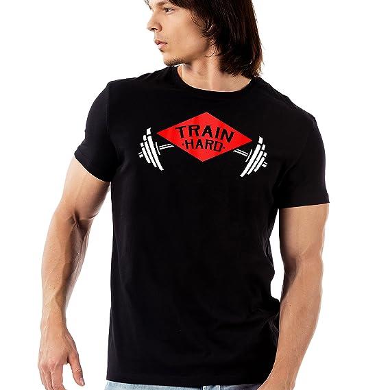 72e647df6e895 Ramposh Train Hard Printed Black Round Neck T-Shirt for Men: Amazon.in:  Clothing & Accessories