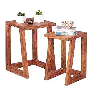 Wohnling 2er Set Beistelltisch Massivholz Sheesham Design Wohnzimmer-Tisch eckig Nachttisch Satztisch Landhaus-Stil Mesa Auxiliar, Madera, 36 x 36 x 50 cm, 2 Unidades