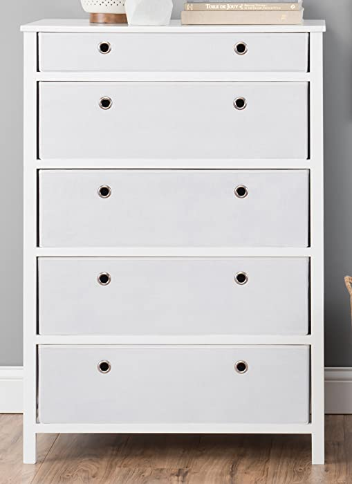EZ Home Solutions Foldable Furniture 5 Drawer Tall Dresser, 45