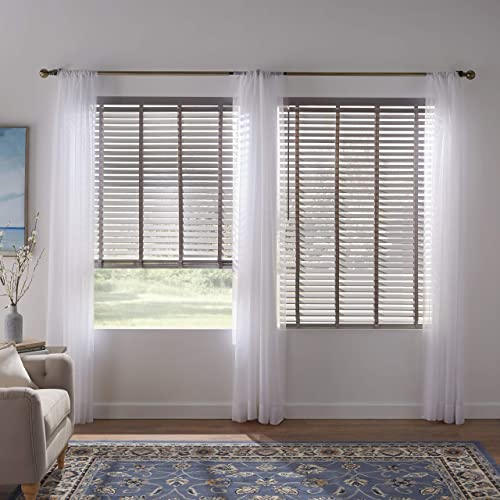 BrylaneHome 2 Faux Wood Cordless Blind – 39I W 64I L, Grey
