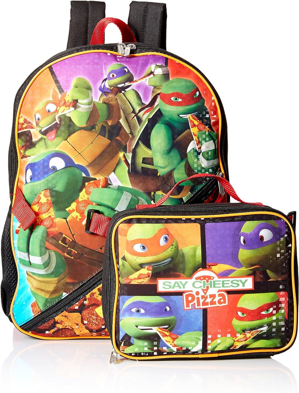 Nickelodeon Boys' Teenage Mutant Ninja Turtles Backpack with Lunch Kit, Black, ONE SIZE