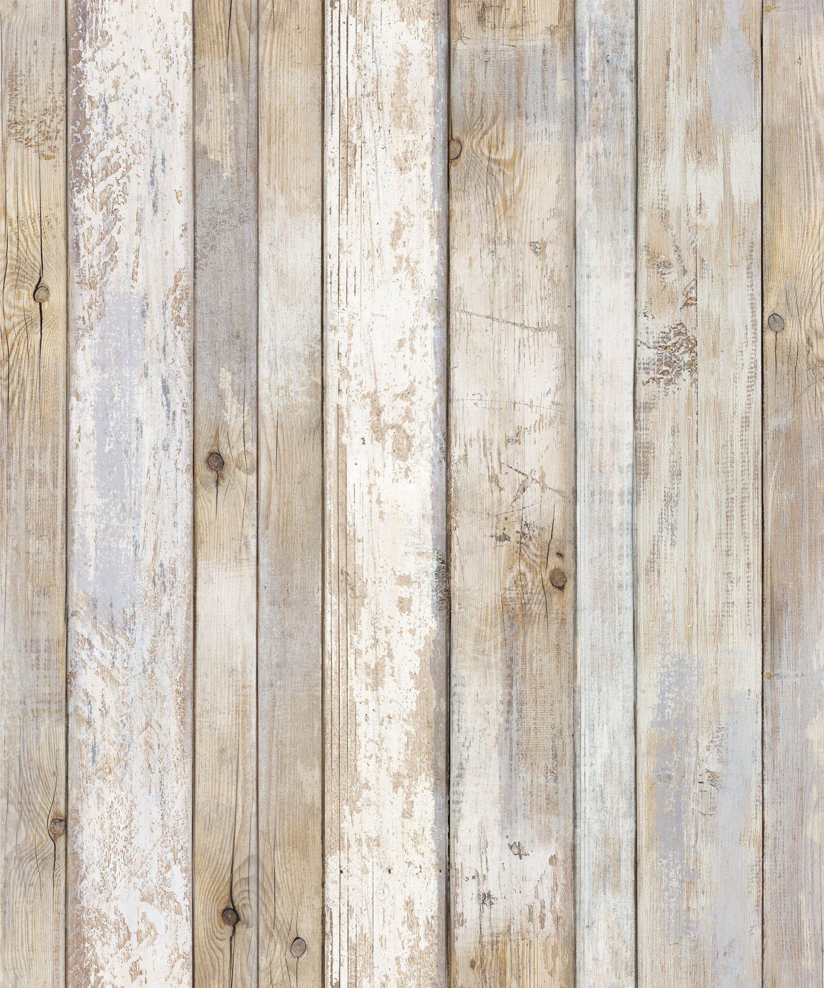 Reclaimed Wood Distressed Wood Panel Wood Grain Self-Adhesive Peel-Stick Wallpaper (VBS308) by Very Berry Sticker