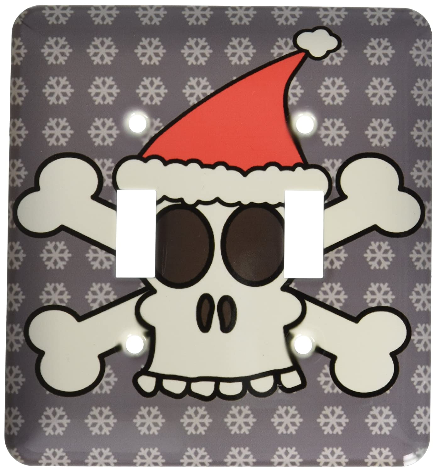 3dRose lsp/_6362/_2 Skull and Crossbones Red Santa Hat Gray Snowflakes Double Toggle Switch Multicolor