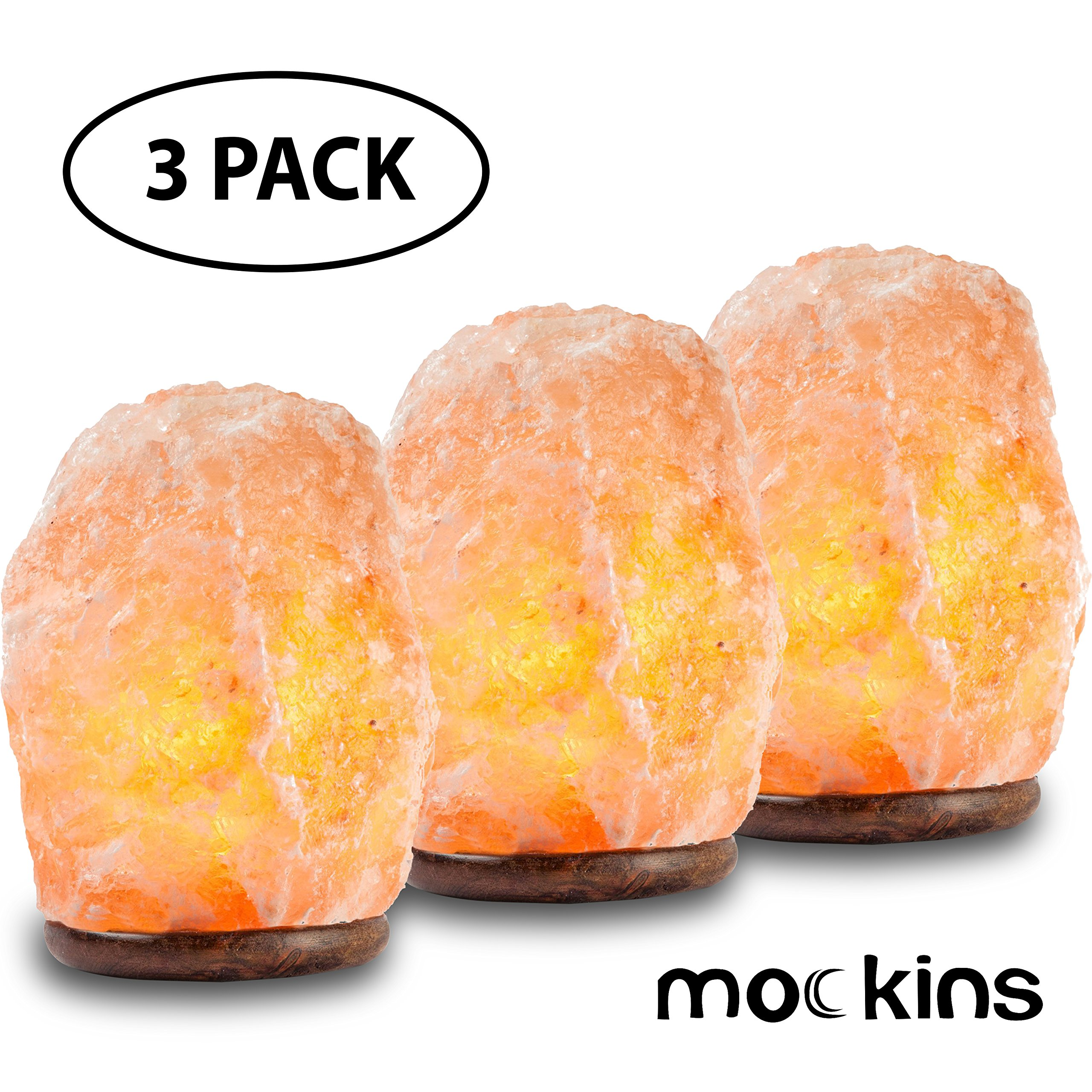 mockins 3 Pack Natural Hand Carved Himalayan Salt Lamp With A Stylish Wood Base & Bulb With On and Off Switch 6-8 Inches 5-7 lbs. - Holiday Gift …