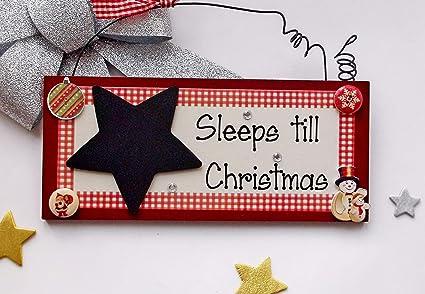 Countdown Till Christmas.Sleeps Till Christmas Countdown Seasonal Wooden Chalkboard