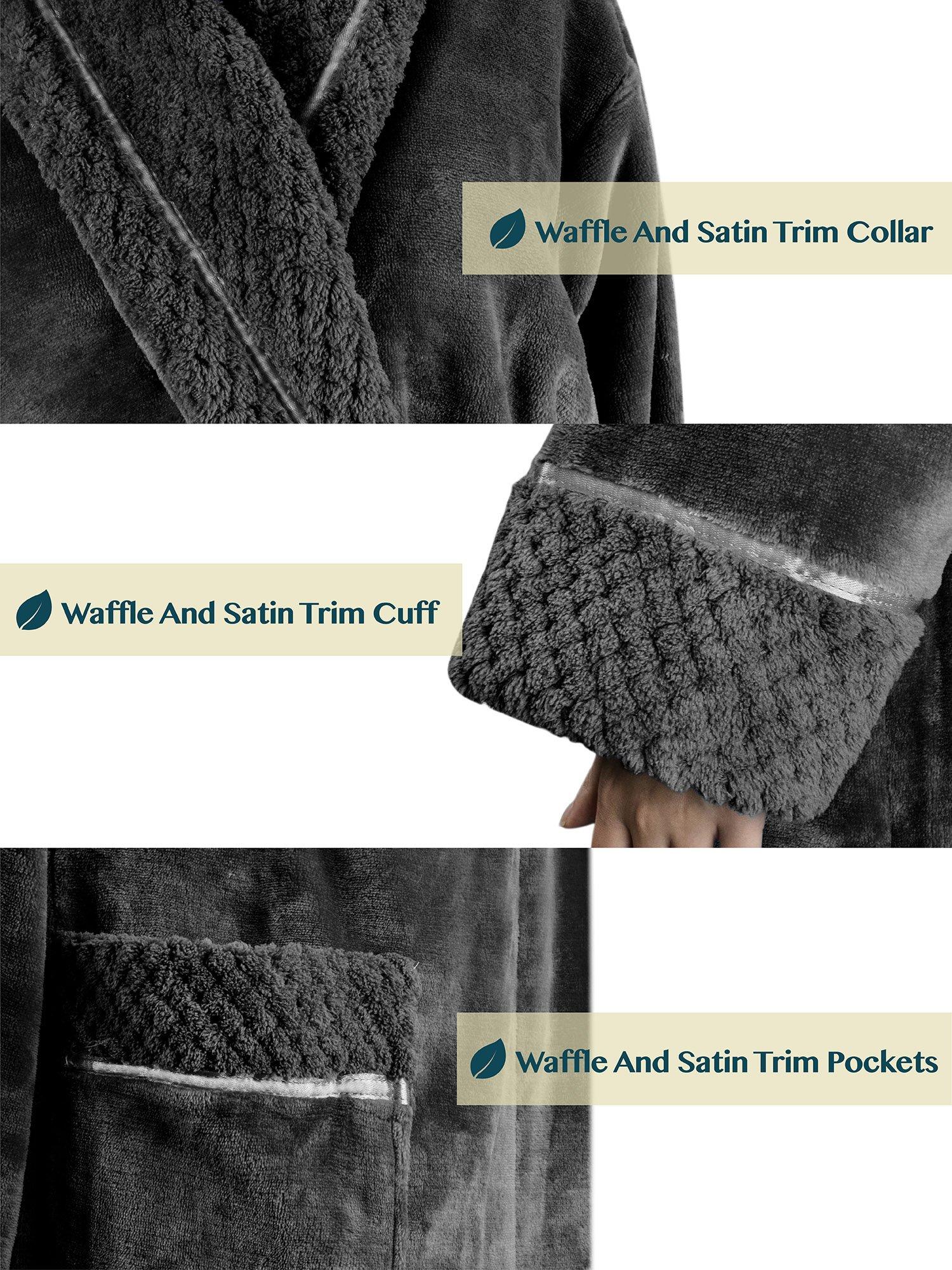 Deluxe Women Fleece Robe with Satin Trim | Luxurious Plush Spa Bathrobe Waffle Design by PAVILIA (Image #6)