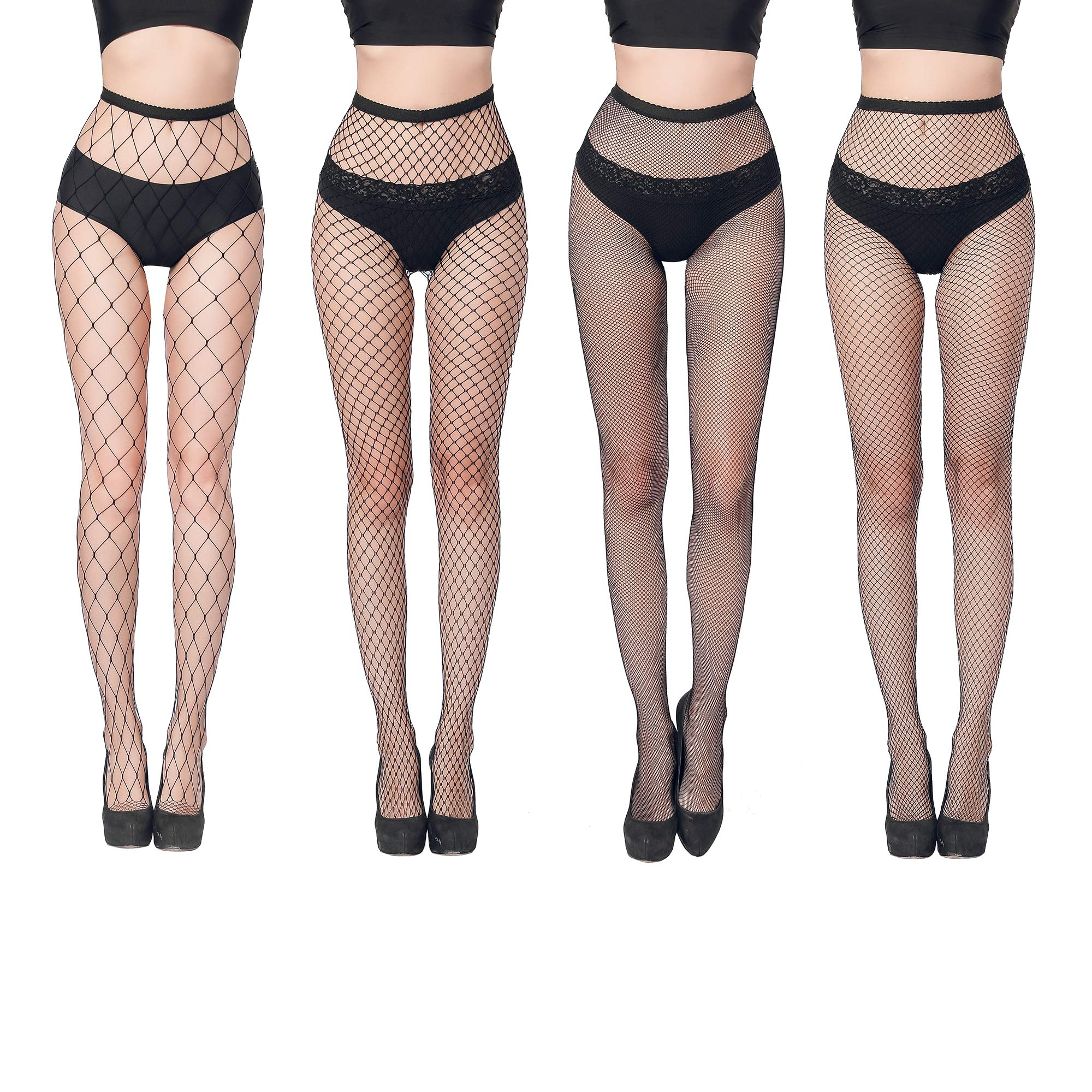 Fishnet Tights Stockings for Women-High Waist Sexy Fishnet Socks Pantyhose 4 Pairs Different Styles for Dancing Party GARTOL