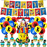 Building Block Party Supplies Birthday Decorations Include Birthday Banner, Latex Balloons, Cake Toppers and Building…