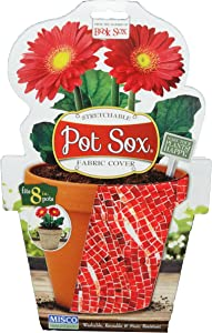 Misco Home and Garden Modern Pot Sox Flowerpot Cover, 8-Inch, Red Mosaic Tile