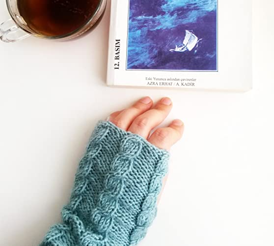 Amazon.com: Mint cable knit gloves Mint gloves Fingerless gloves ...
