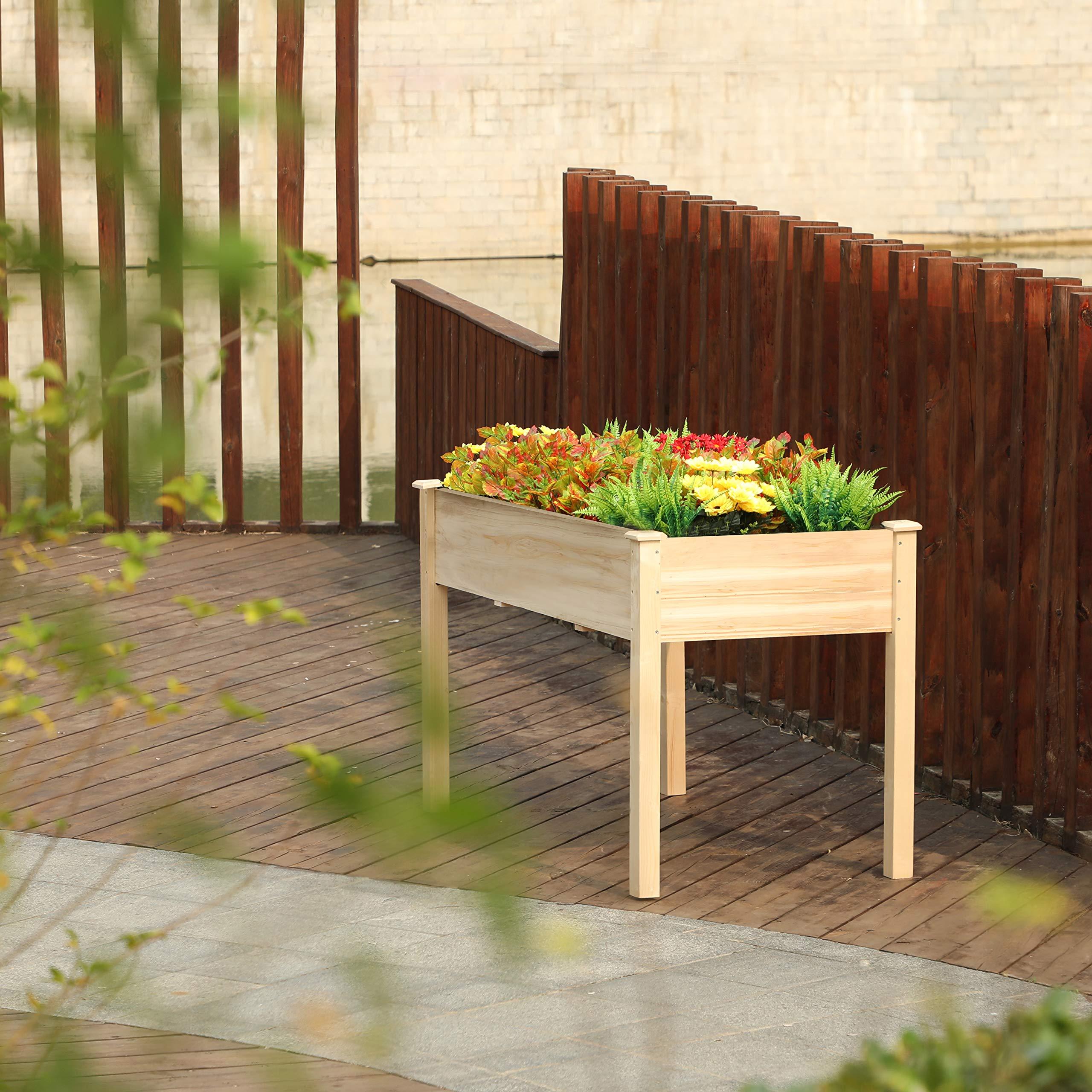 PHI VILLA Raised Garden Bed Elevated Planter Box for Vegetable/Flower/Fruit/Herb (48''x30''x22.5'')