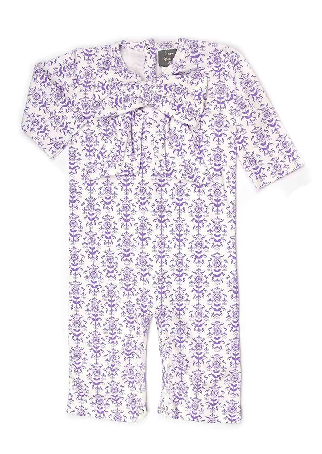 Kate Quinn Organics Unisex-Baby Bow Jumpsuit 18-24M Lilac Wallpaper