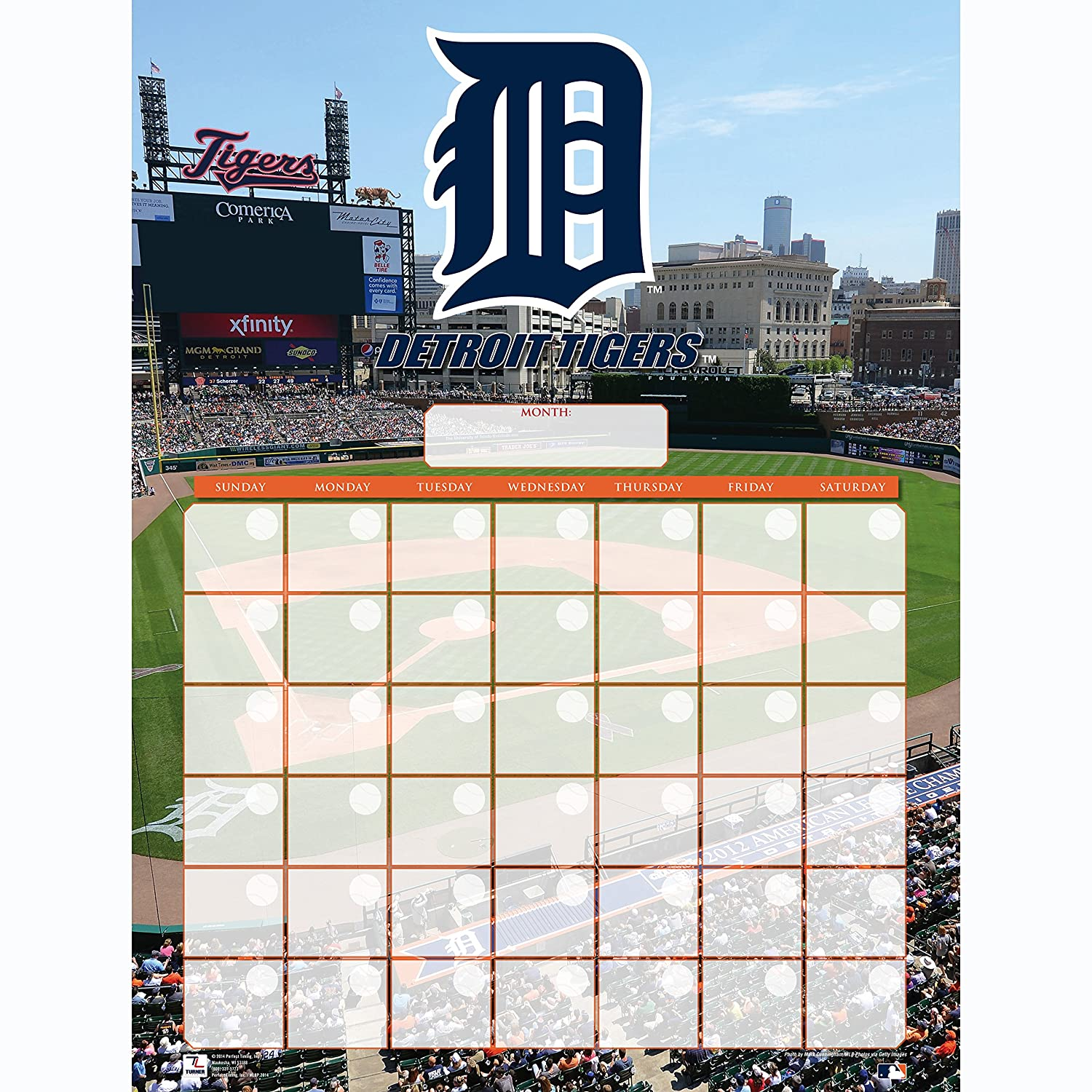 Turner Perfect Timing Detroit Tigers Jumbo Dry Erase Sports Calendar (8921030)