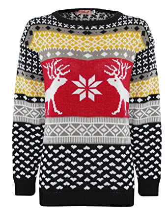 website for discount good looking retro Unisex Stag Reindeer Fair Isle Retro Novelty 80's Christmas ...