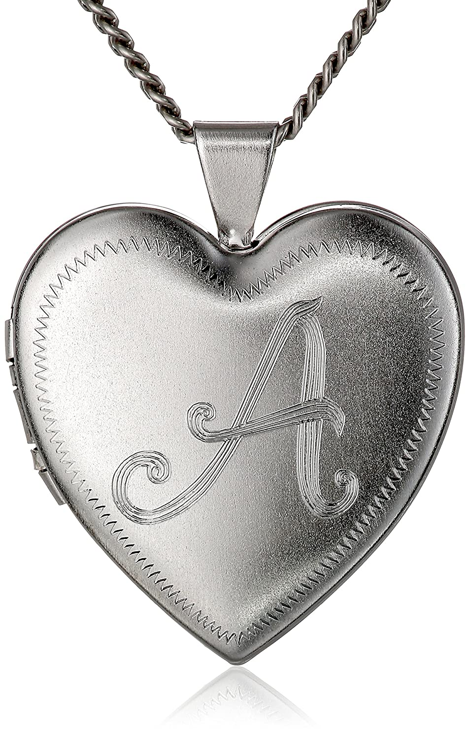 Heart-Shaped Rhodium-Plated Brass Locket Necklace 24