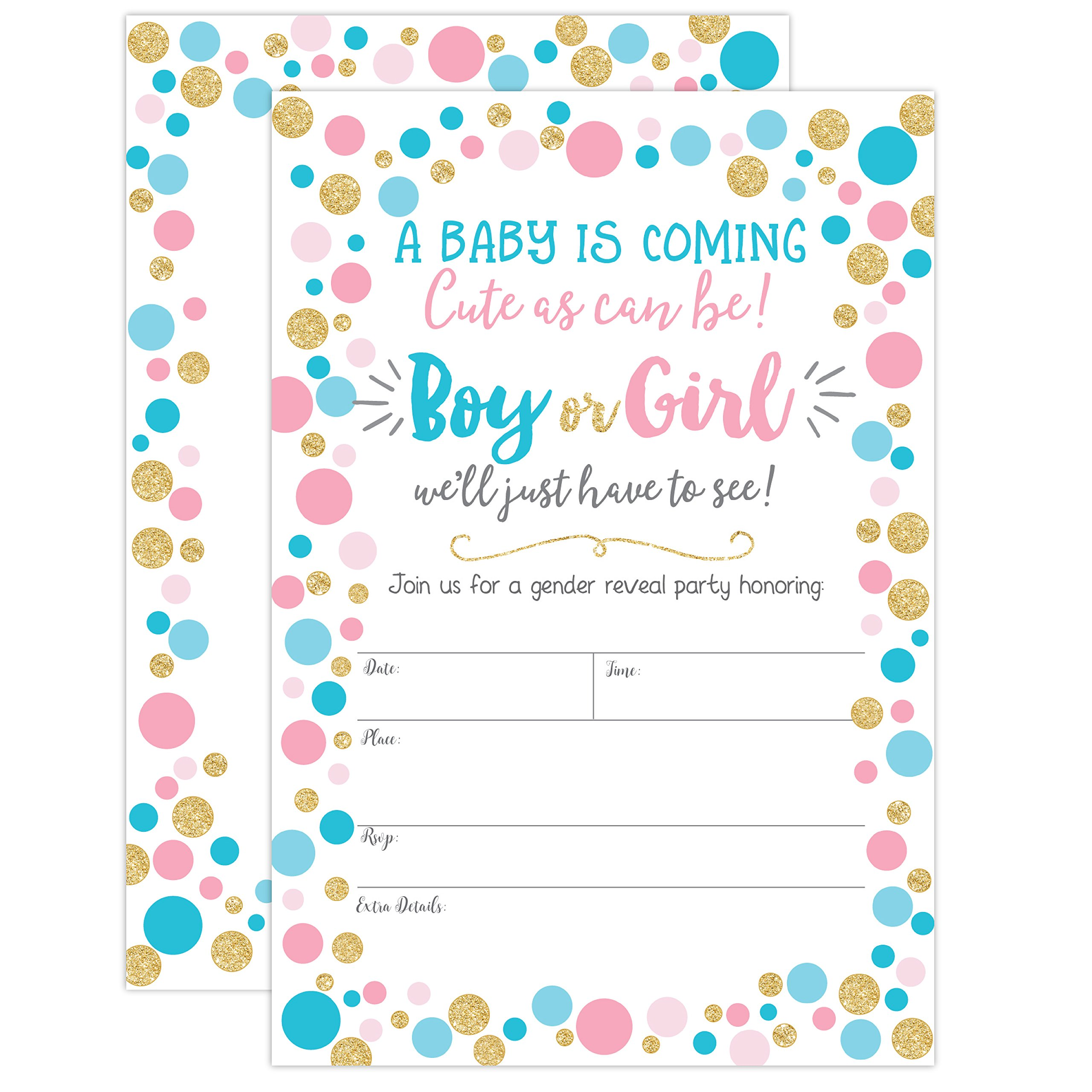 Gender Reveal Invitation, Gender Reveal Party Invite, Neutral Baby Shower Invitation, Boy Or Girl, He Or She, 20 Fill in Invitations and Envelopes