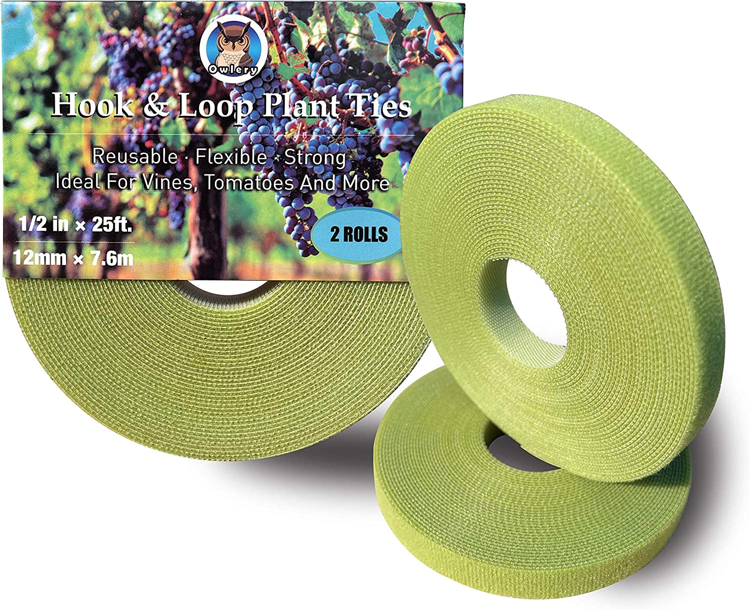 Owlery Hook and Loop Garden Tie, Reusable Nylon Plant Tie Strap, Soft Tomato Tie, Vine Tie, Garden Stake, Ideal for Garden, Orchard, Vines, Patio (1/2 in x 25 ft x 2 roll)