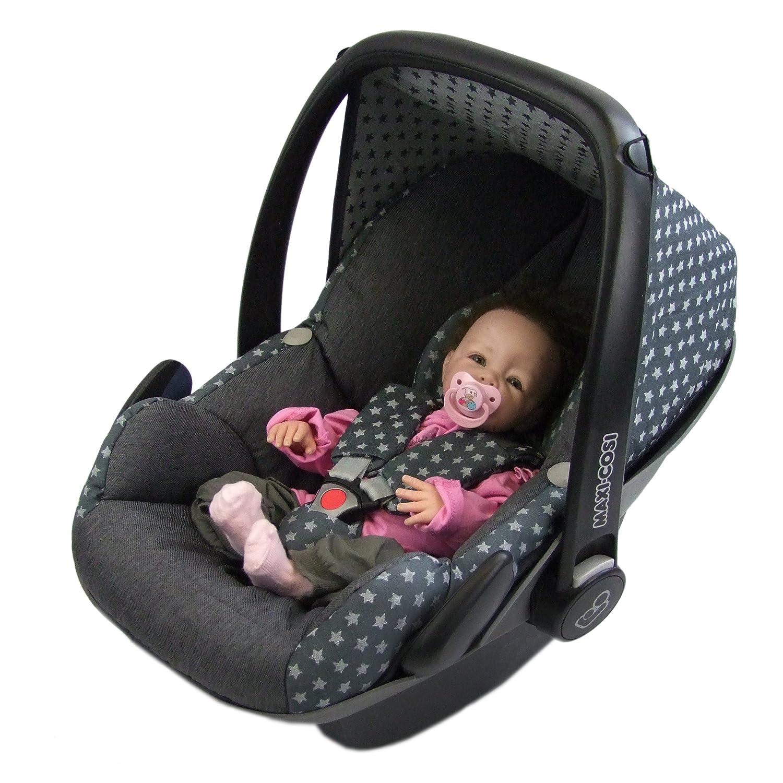 Bambiniwelt Ersatzbezug Für Maxi Cosi Pebble 5 Tlg Bezug Für Babyschale Komplett Set Sterne Dunkelgrau Xx Baby