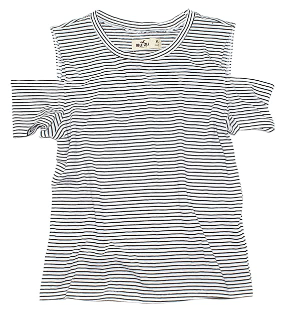 f045a48c770 Hollister Women's Cold Shoulder Crop Top T-Shirt How-2 (X-Small, Black  Stripes 104) at Amazon Women's Clothing store: