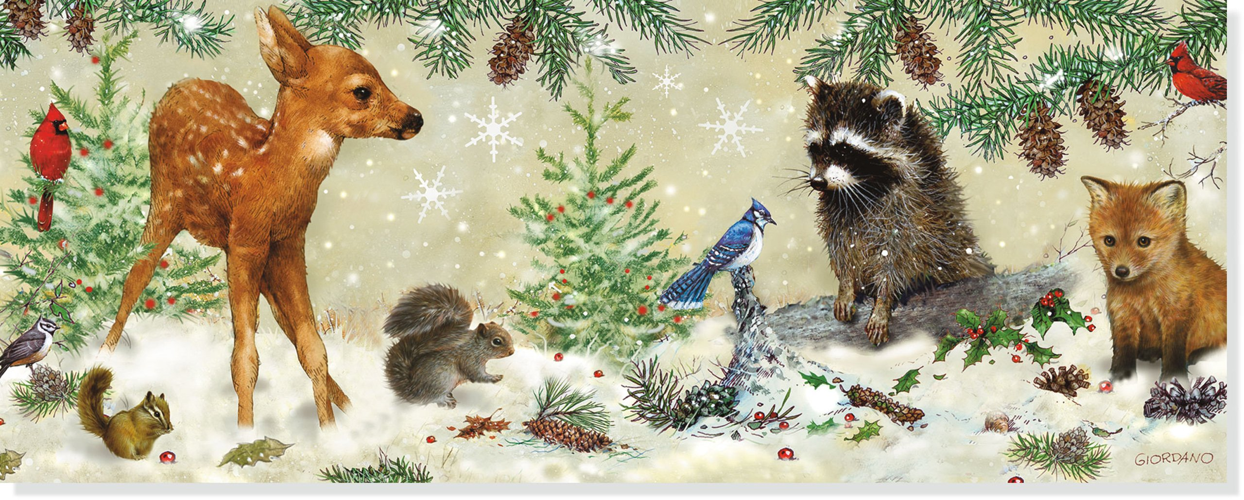 winter forest friends panoramic boxed holiday cards christmas cards holiday cards greeting cards inc peter pauper press 9781441305046 amazoncom - Animal Christmas Cards