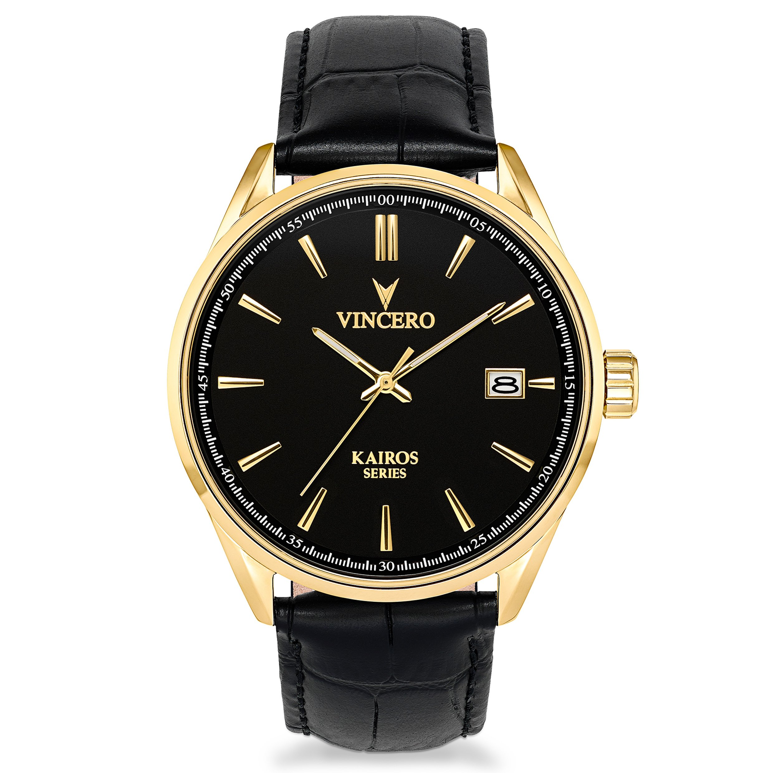 Vincero Men's Kairos Watch - Black/Gold with Leather Band by Vincero