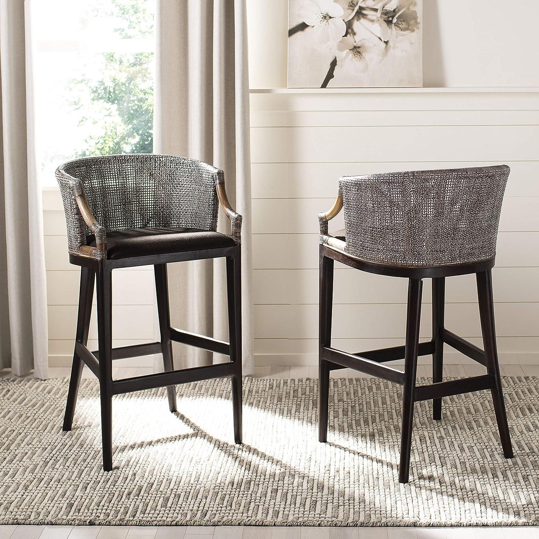 Amazon com safavieh home collection birch wood brando brown 28 inch bar stool kitchen dining