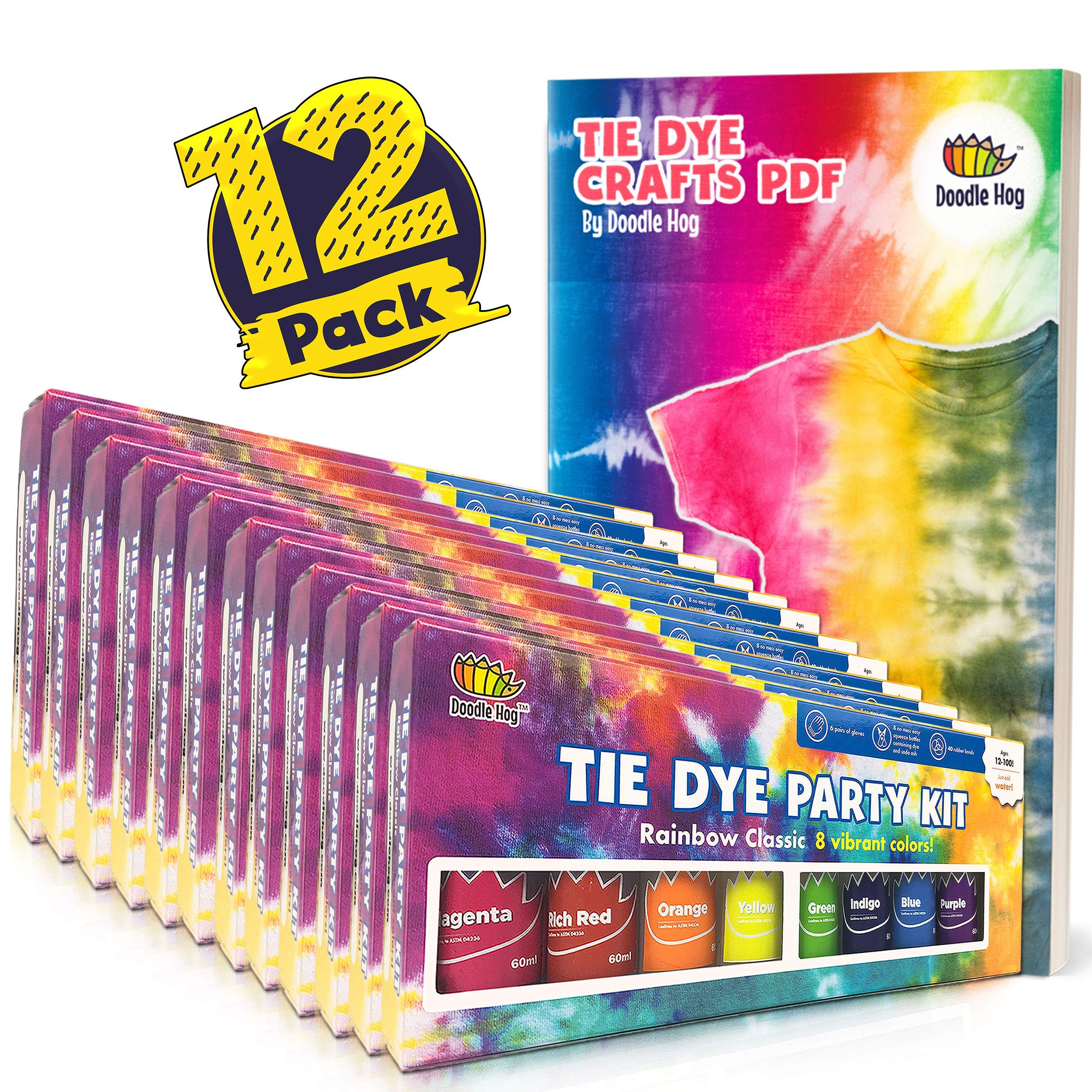Easy Tie Dye Party Kit for Kids Adults, and Groups. Create Vibrant Designs with Non-Toxic Dye. 12 Packs Includes 96 Bottles of Tie Dye Ink (8 Colors Per Pack)! Beginner-Friendly: Just Add Water!