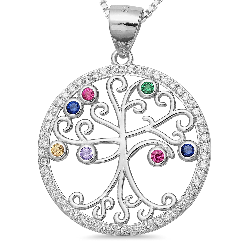 925 Silber Lebensbaum Amulettbaum bunte Zirkonia Baum Anhänger filigrane Kettenanhänger Baum des Lebens #1722 001501201722