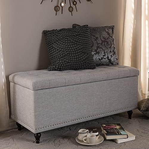 Baxton Studio Upholstered Storage Ottoman Bench in Grayish Beige