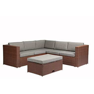 Baner Garden (K35-BR 4 Pieces Outdoor Furniture Complete Patio Cushion Wicker Rattan Garden Corner Sofa Couch Set, Full, Brown