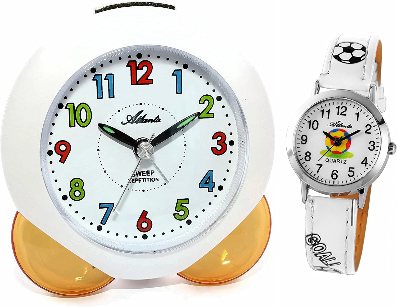 Niños despertador para chica joven Naranja + Reloj de pulsera–Atlanta 1733–12Kau