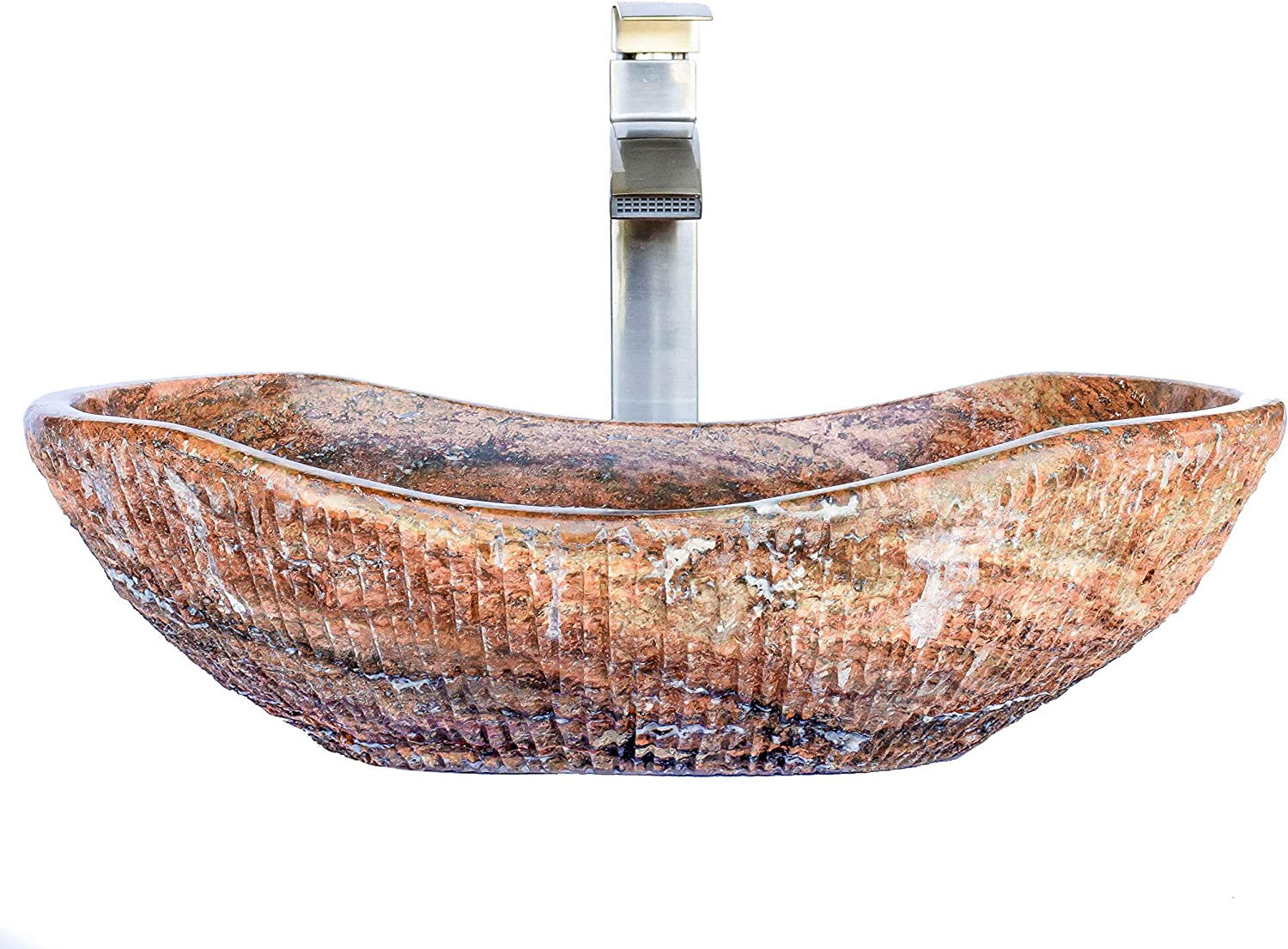 Red Travertine Chiseled Stone Bathroom Vessel Sink – Oval Canoe Shape – 100 Natural Marble, Hand Carved – Free Matching Soap Tray