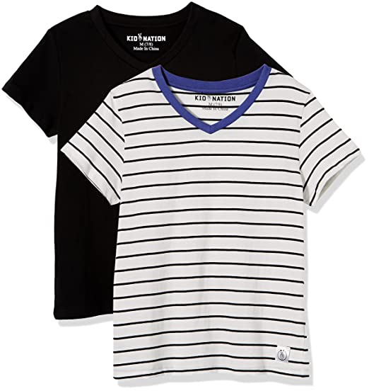 791097637 Amazon.com: Kid Nation Kids' 2-Pack Short-Sleeve V-Neck Cotton Jersey Tee  for Boys or Girls: Clothing