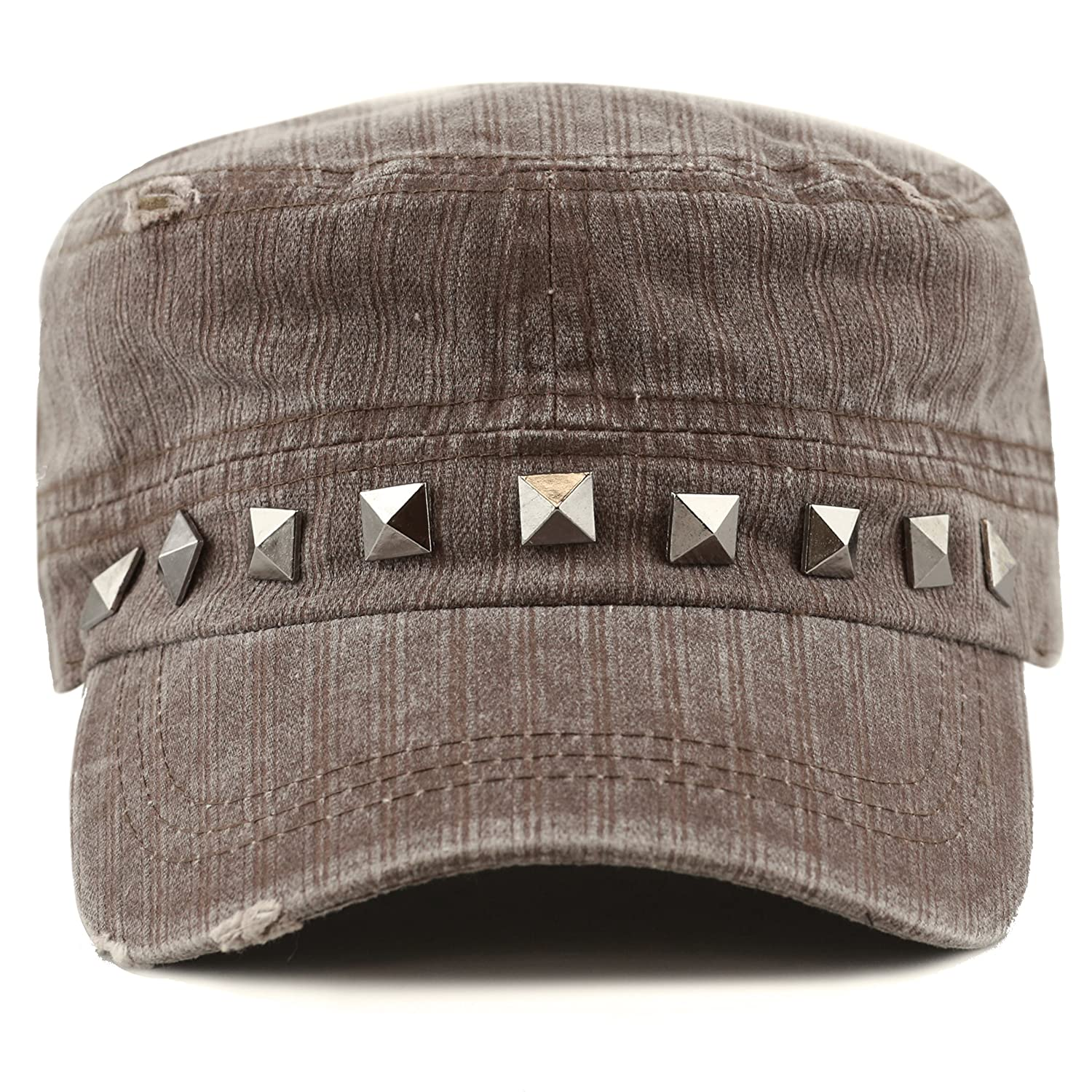 THE HAT DEPOT Women s Distressed Cotton Cadet Cap with Studs (Brown) at  Amazon Women s Clothing store  87b2a3b1176