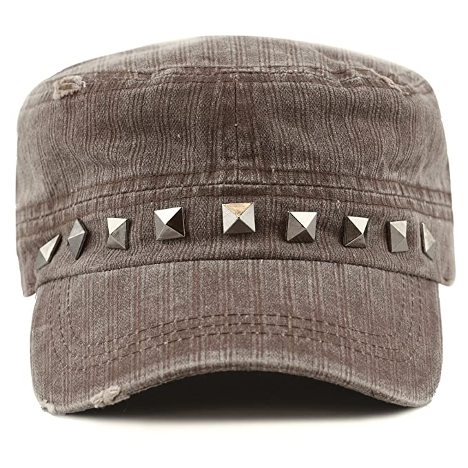 cc660dadbc0f4 THE HAT DEPOT Women s Distressed Cotton Cadet Cap with Studs (Brown ...