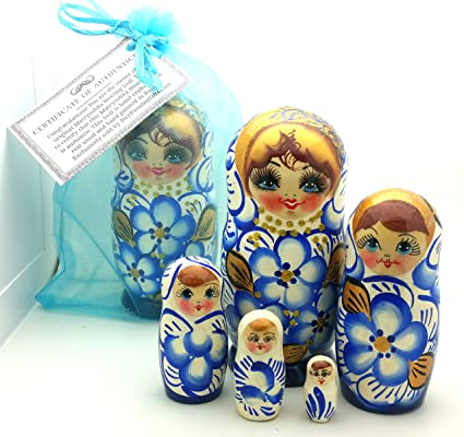 Set of 5 Floral Blue and Black Wooden Matryoshka Russian Nesting Dolls 6 Inches
